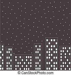 city., nuit, sky., silhouette, étoiles