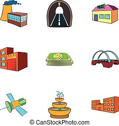 City objects icons set, cartoon style