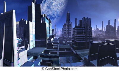 City of Aliens and a Huge Moon