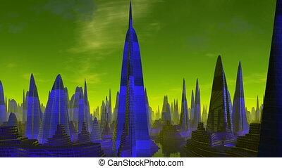 City of aliens. Evening