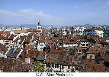 City of Annecy, in Savoy, France - Old city and roofs of...