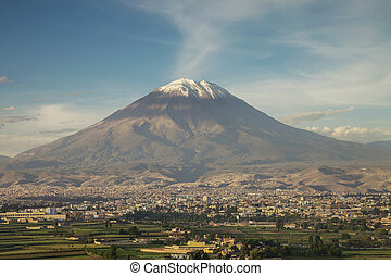 City of Arequipa, Peru with its iconic volcano Misti in the...