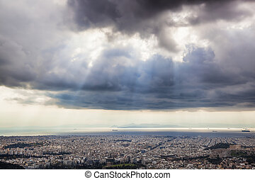 City of Athens with sunny spells in Greece