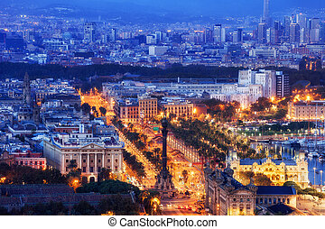 City of Barcelona at Blue Hour