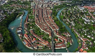 City of Bern and the River Aare, picturesque aerial view....