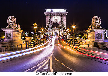 City of Budapest in Hungary night urban scenery, street on ...