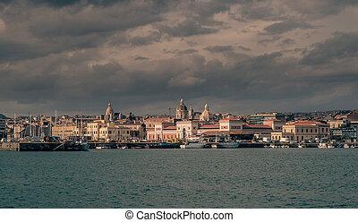 City of Catania viewed from the marina docks