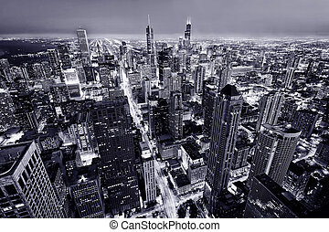 Aerial view of Chicago downtown - City of Chicago. Aerial ...