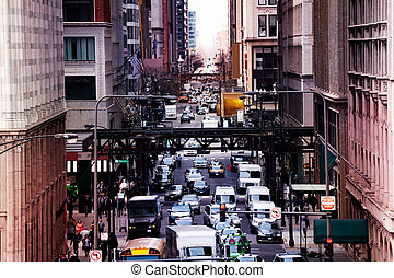 Chicago busy street with metro way and cars