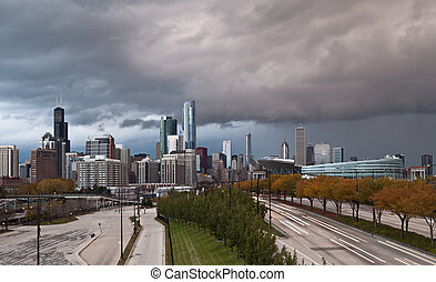 City of Chicago - Image of Chicago downtown with dramatic...