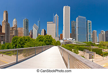 City of Chicago USA, panorama of downtown on a beautiful summer day