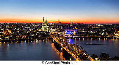city of cologne at sunset