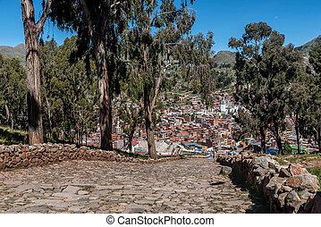City of Copacabana at lake Titicaca, Bolivia
