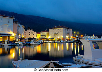 Cres by the night - City of Cres by the night. Croatia