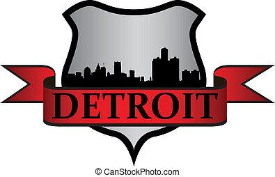 Detroit crest - City of Detroit crest with high-rise...