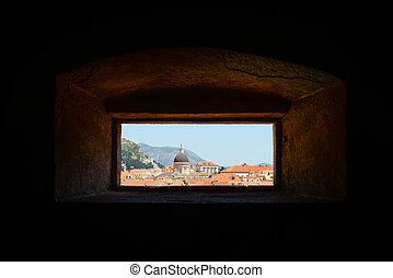 City of Dubrovnik in Croatia through a window