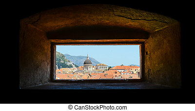 City of Dubrovnik in Croatia through a window