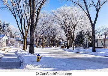 City of Edmonton street in winter, Alberta, Canada