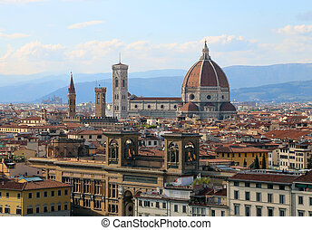 city of FLORENCE in Italy with the great dome of the Cathedral