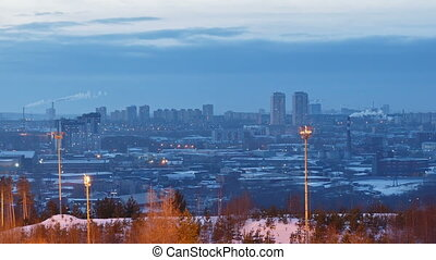 City of forests. Sunset. Winter. Ekaterinburg. Time Lapse