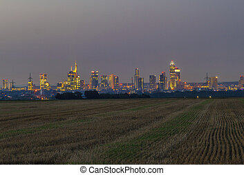 city of Frankfurt by night