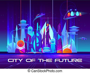 City of future at night with vibrant neon lights