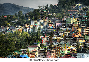 City of Gangtok - Beautiful high dynamic range image of the...
