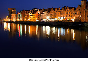 City of Gdansk Old Town Skyline at Night in Poland