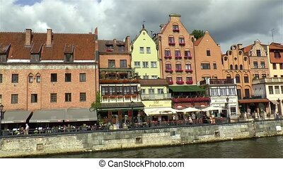 Traditional waterfront buildings in Gdansk, Northen Poland.