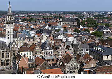 City of Ghent - Belgium - View over the rooftops of the old...