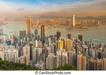 City of Hong Kong aerial view, central business downtown