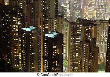 City of Hong Kong at night