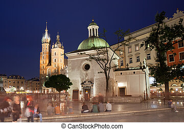 City of Krakow Old Town by Night in Poland