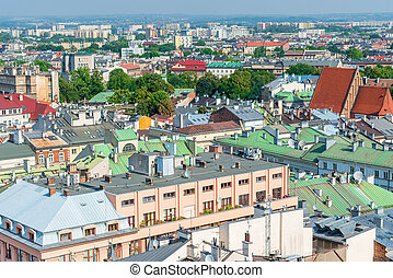 city of Krakow on a sunny day view from above