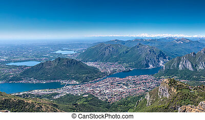 city of lecco from mountain