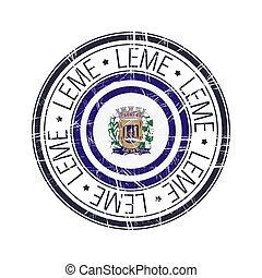 City of Leme, Brazil vector stamp