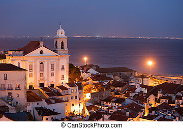 City of Lisbon in Portugal at Night