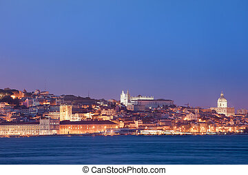 City of Lisbon Skyline at Night in Portugal