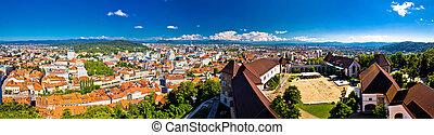 City of Ljubljana aerial panoramic view