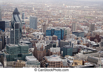 City of London aerial view - View from a tall building of...