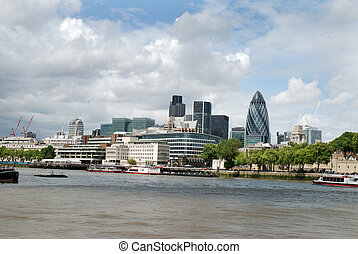City of London as seen from the river Thames.