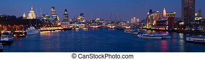 City of London at night - Evening shot of the City of...