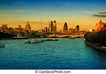 City of London at sunset.