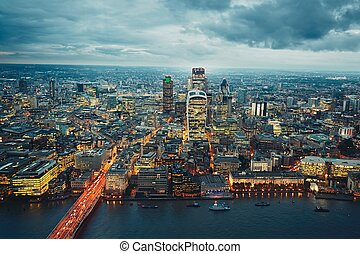 City of London at the dusk, The United Kingdom of Great...