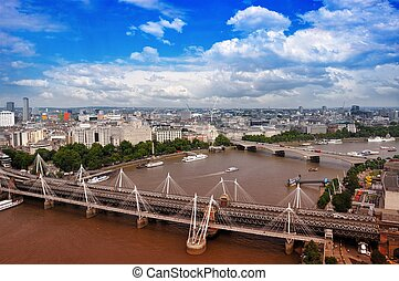 City of London - Bird View. Thames River. Sunny Cloudy Day...
