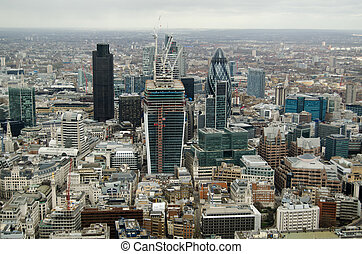 City of London from Above - View of the skyscraper buildings...