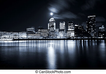 City of London - Full moon over London skyscrapers