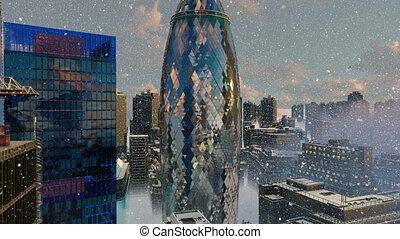 City of London in winter snowfall