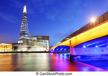 City of London skyline at sunset, UK