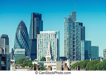 City of London. Skyline on a beautiful summer day
